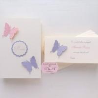 Meniu si plic de bani cu fluturi roz si lila, cod 226