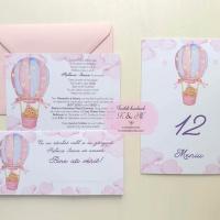 Invitatii, meniuri, plicuri bani cu balon cu aer cald roz si ursulet cod 293