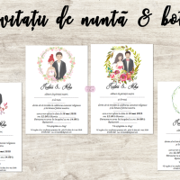 Invitatii de nunta si botez 2 in 1 cu portret cod 156