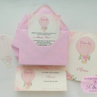 Invitatii, meniu, plic bani de botez cu balon cu aer cald roz, cod 215