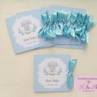 Invitatii de botez cu elefant - gri si bleu, cod 232