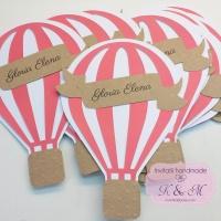 Invitatii de botez cu balon cu aer cald - roz inchis cod 256