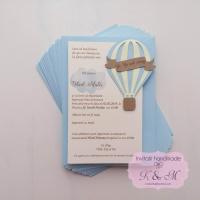Invitatii de botez cu balon cu aer cald - bleu si galben cod 257