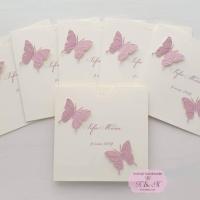 Invitatii de botez pentru fetite cu fluturi roz antic, cod 245