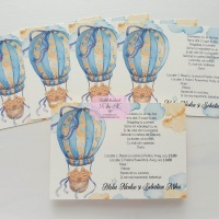 Invitatii de botez cu ursuleti gemeni si balon cu aer cald cod 248