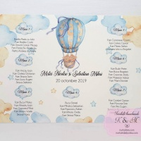 Lista de asezare a invitatilor la mese cu ursuleti gemeni in balon cu aer cald cod 248