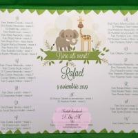 Lista de asezare a invitatilor la mese cu elefant si girafa cod 260