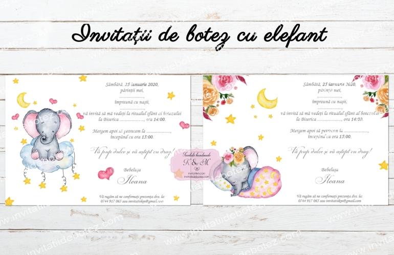 Invitatii elefant fete