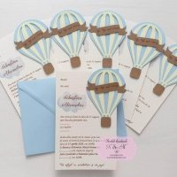 Invitatii de botez cu balon cu aer cald – bleu si galben cod 257