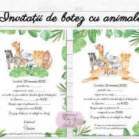 Invitatii de botez cu animale din jungla cod 289