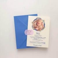 Invitatii de botez cu poza si coronita florala cod 287
