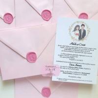 Invitatii de nunta si botez 2 in 1 cu sigiliu si talpi de bebelus cod 286