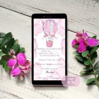 Invitatii digitale de botez cu balon cu aer cald