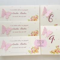 Papetarie de botez cu flori si fluturi roz cod 221